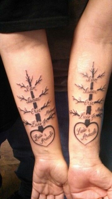 tatuajes de arboles para parejas con hijos
