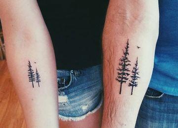 tatuajes de arboles para parejas en el brazo