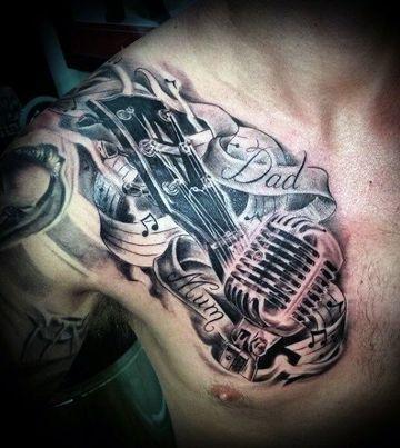 tatuajes bacanos para hombres hombro y pectoral