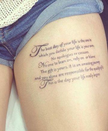 tatuajes de frases en la pierna en ingles