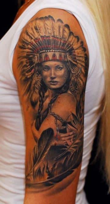 tatuajes de indias guerreras desde el hombro