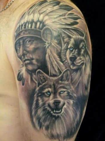 tatuajes de indios y lobos de hombres