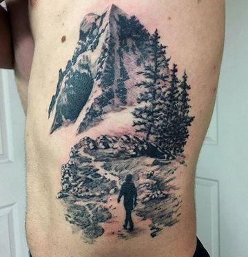 tatuajes de paisajes para hombres abdomen y pecho