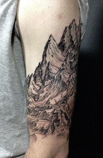 tatuajes de paisajes para hombres de montañas