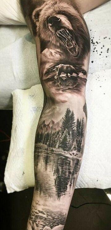 tatuajes de paisajes para hombres en brazo completo