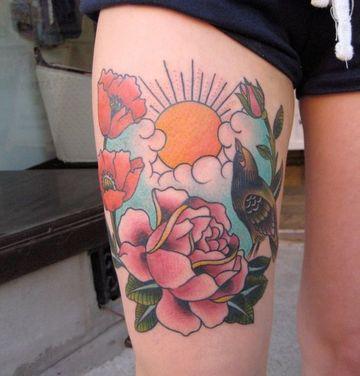 tatuajes de puestas de sol para mujeres