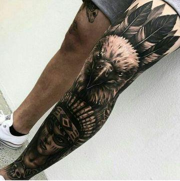 tatuajes en el muslo para hombres de aguila