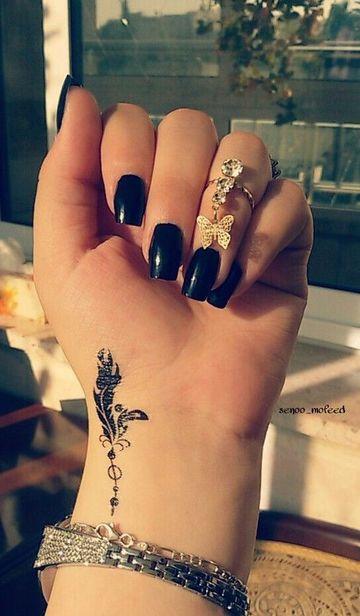 tatuajes de plumas en la muñeca pequeños