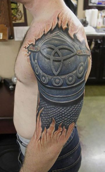 tatuajes para hombres en el hombro 3d de armadura