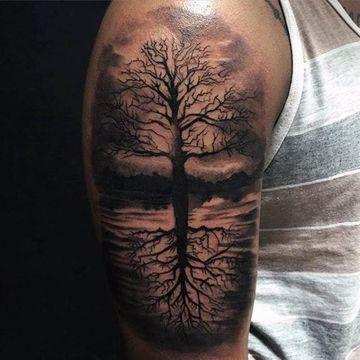 tatuajes de arboles para hombres en el brazo