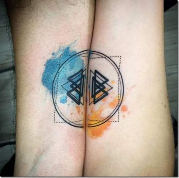 tatuajes para parejas a color de fusion
