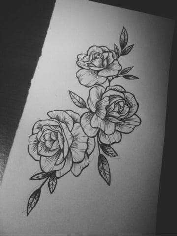 bocetos de rosas para tatuar sencillos