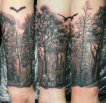 tatuajes de bosques en el antebrazo para hombres