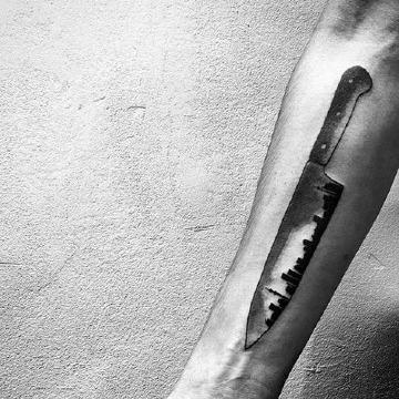 tatuajes de cuchillos de chef originales