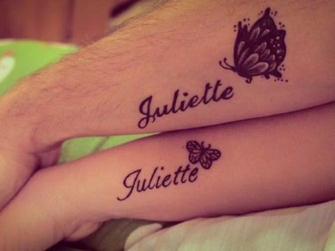 tatuajes de mariposas con nombres de hijos
