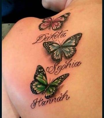 tatuajes de mariposas con nombres para mujeres