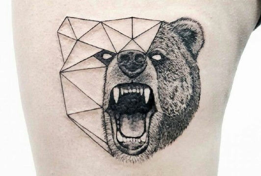 tatuajes de osos para hombres geometrico