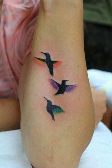 tatuajes de pájaros en el brazo a colores