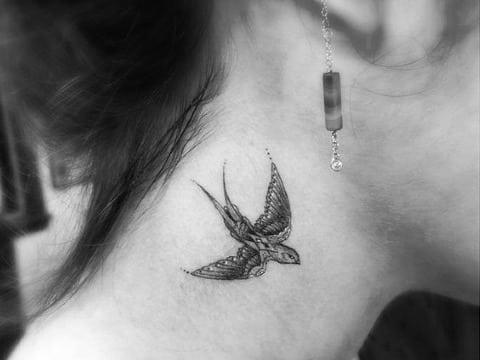 fotos de tatuajes de golondrinas en el cuello