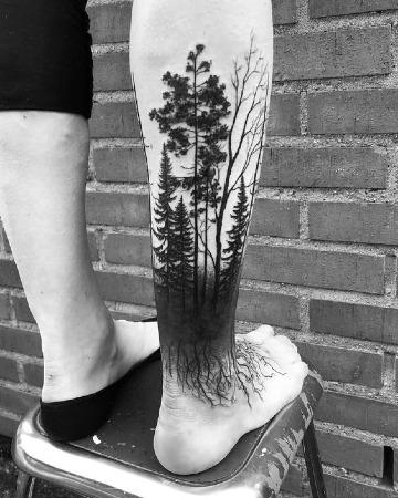 imagenes de tatuajes de bosques para hombres