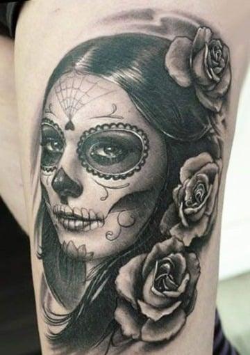 imagenes de tatuajes de catrinas en la pierna