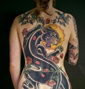 imagenes de tatuajes de panteras en la espalda
