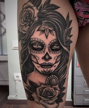 modeos de tatuajes de catrinas en la pierna