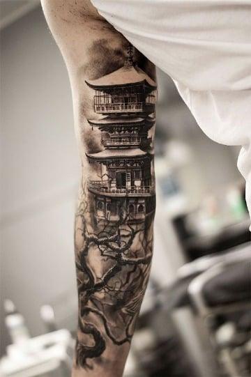 tatuajes de casas chinas en el brazo
