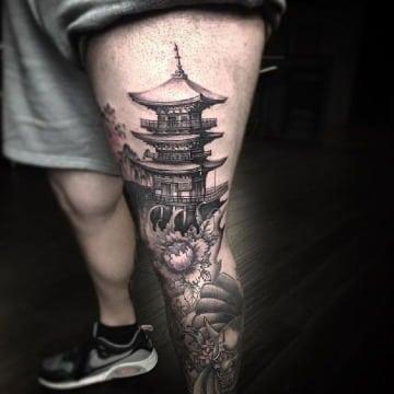 tatuajes de casas chinas para hombres