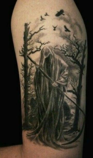 tatuajes de la muerte en el brazo para hombre