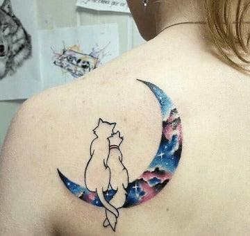 diseños de tatuajes de gatos y lunas