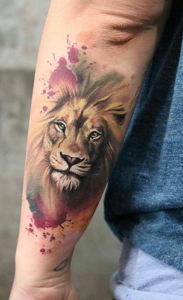 imagenes de tatuajes de leones a color