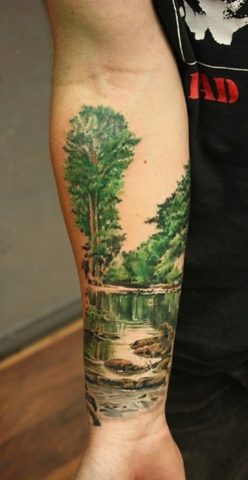 los mejores tatuajes de paisajes en el antebrazo