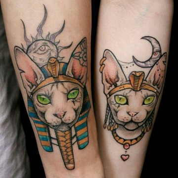 tatuajes de gatos egipcios para parejas