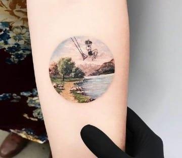 tatuajes de paisajes en el antebrazo medianos