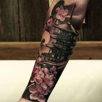 fotos de tatuajes de templos japoneses