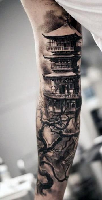 diseños de tatuajes de templos japoneses