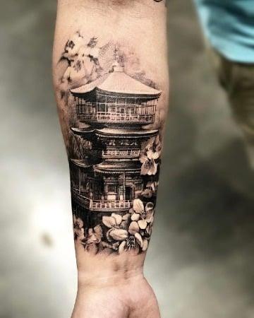 tatuajes de templos japoneses para hombres