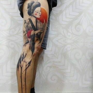 tatuajes de geishas para hombres a color
