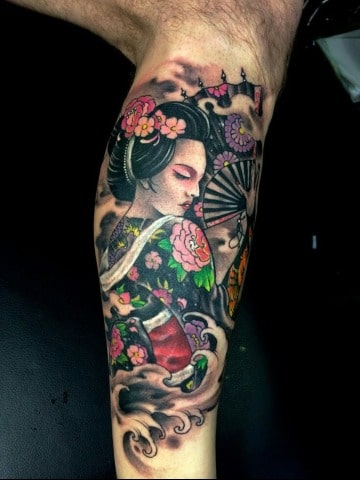 tatuajes de geishas para hombres en el brazo