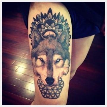 tatuajes para hombres en la pierna de lobos