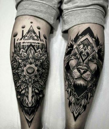 tatuajes para hombres en la pierna tribales