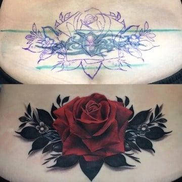 tatuajes para mujeres en la espalda baja rosa
