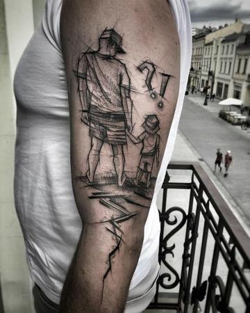 tatuajes de padre e hijo en el brazo
