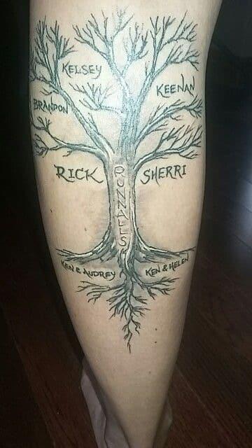 tatuajes de arboles con nombres para hombres