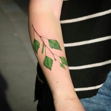 tatuajes de hojas de arboles en el brazo