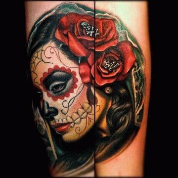 diseños de tatuajes de catrinas a colores