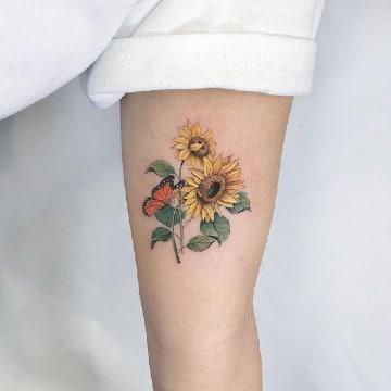 diseños de tatuajes de girasoles en el brazo