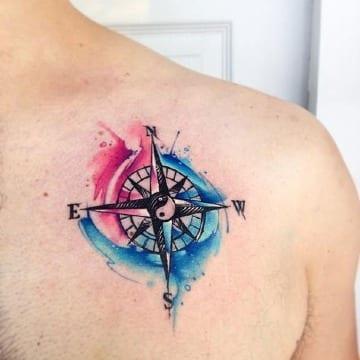imagenes de tatuajes de brujulas a color
