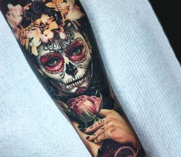 tatuajes de catrinas a colores hombres